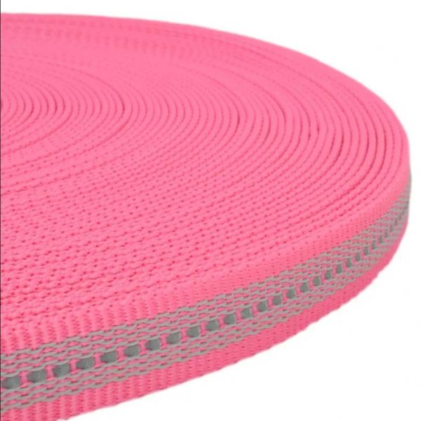 Gurtband mit Gummifäden und stark reflektierenden Streifen - Rosa