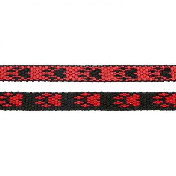 Gurtband mit Motiv - Rot / Schwarz / Pfoten