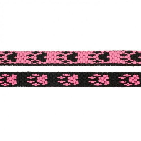 Gurtband mit Motiv - Pink /Schwarz / Pfoten