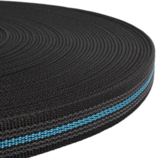 Gurtband mit Gummifäden - Schwarz / Hellblau