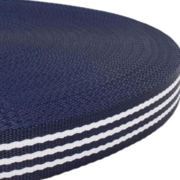 Gurtband mit Motiv - Blau / Weiß Streifen