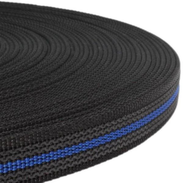 Gurtband mit Gummifäden - Schwarz / Blau