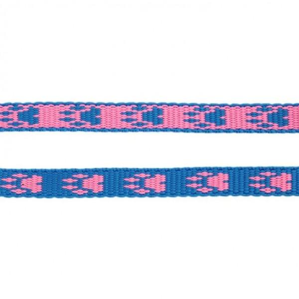Gurtband mit Motiv - Blau / Pink / Pfoten
