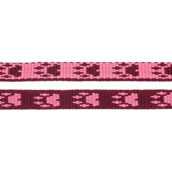 Gurtband mit Motiv - Rosa / Rot / Pfoten