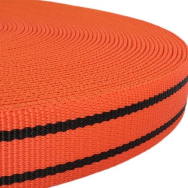 Gurtband mit Motiv - Orange / Schwarz Streifen