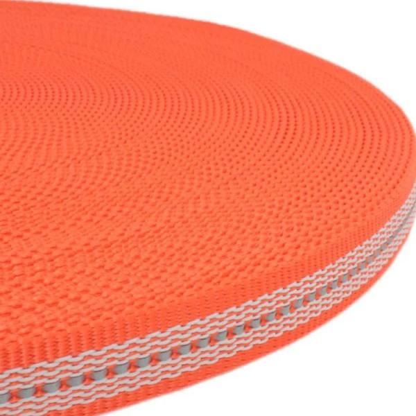 Gurtband mit Gummifäden und stark reflektierenden Streifen - Orange