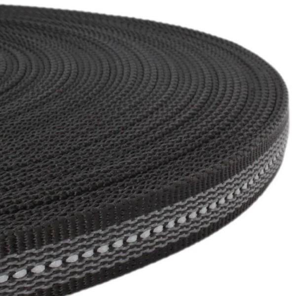 Gurtband mit Gummifäden und stark reflektierenden Streifen - Schwarz