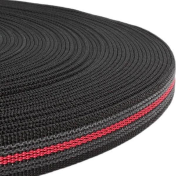 Gurtband mit Gummifäden - Noir / Rouge
