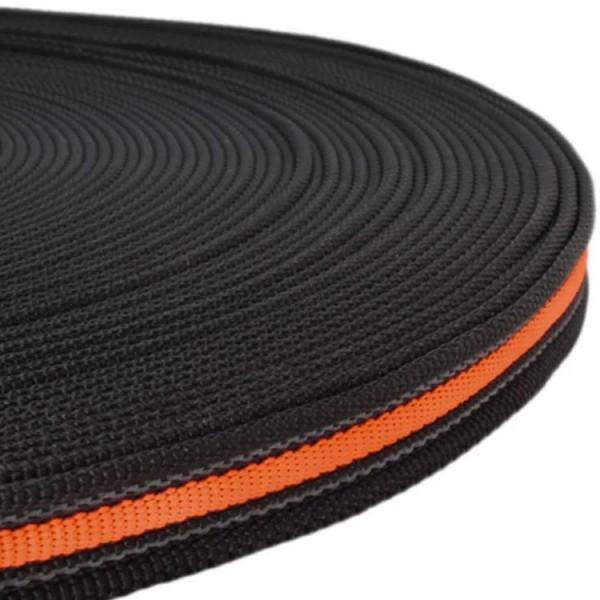 Gurtband mit Gummifäden - Schwarz / Neon Orange