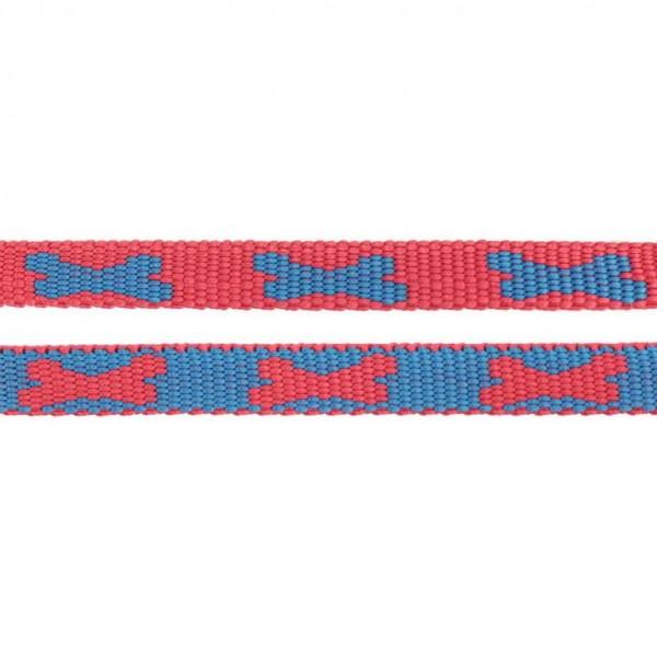 Gurtband mit Motiv - Rot / Blau / Knochen