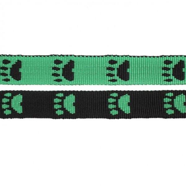 Gurtband mit Motiv - Grün / Schwarz / Pfoten