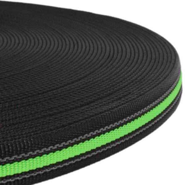 Gurtband mit Gummifäden - Schwarz / Neon Grün