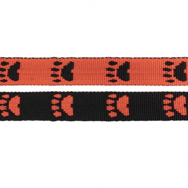 Gurtband mit Motiv - Orange / Schwarz / Pfoten