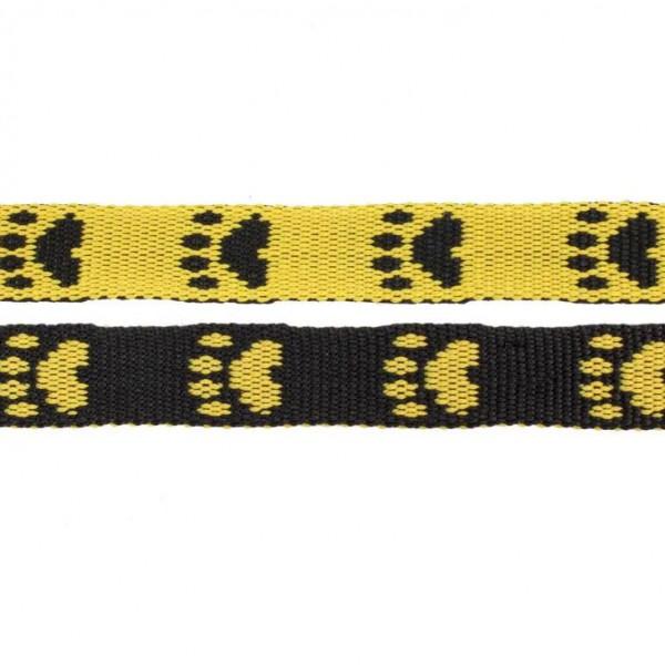 Gurtband mit Motiv - Gelb / Schwarz / Pfoten