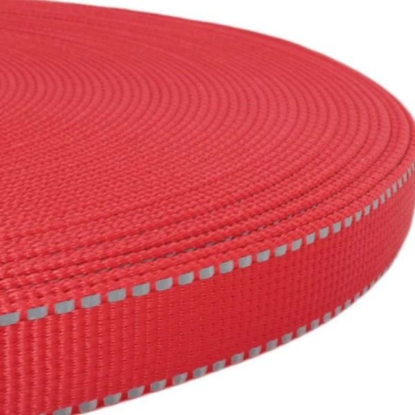 Gurtband mit stark reflektierenden Streifen - Rot